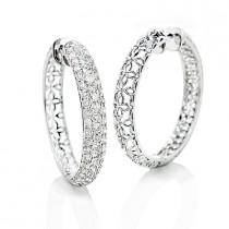 3 Row Diamond Hoop Earrings 4.41ct 14K Gold