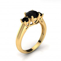 3 Stone Rings: Past Present Future Black Diamond Engagement Ring 14K Gold