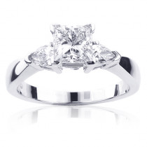 Princess Cut and Pear 3 Stone Rings: Platinum Diamond Engagement Ring GIA