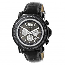 3ct Large Mens Black Diamond Watch MOP Dial w Chronograph Luxurman Escalade