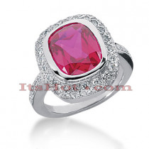 4 Carat Ruby Diamond Ring 14K Gold 0.28ct