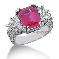 4 Carat Ruby Diamond Ring 14K Gold 1.44ct