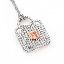 10K Gold Ladies Diamond Lock Pendant Necklace 0.3ct