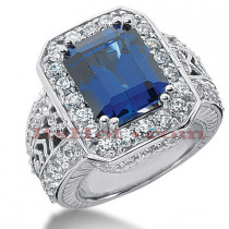 5 Carat Blue Sapphire Diamond Ring 14K Gold 2.44ct