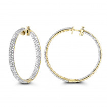 5 Carat Diamond Hoop Earrings for Women 14K Gold Inside Out Style