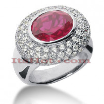 5 Carat Ruby Diamond Ring 14K Gold 1.68ct