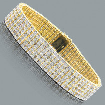 5 Row Mens Diamond Bracelet 1.20ct Gold Plated Sterling Silver