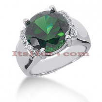 6 Carat Green Emerald Diamond Ring 14K Gold 0.15ct