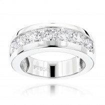 7 Stone Round Diamond Bands: Platinum Diamond Wedding Ring for Men 1.5ct