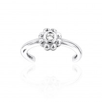 Adjustable 14K Gold Diamond Toe Ring Flower 0.06ct