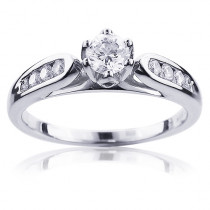 Affordable 14K Gold Women's Round Diamond Engagement Ring 0.4ct