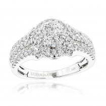 Affordable Cluster Diamond Engagement Ring 1.1ct in 14K Gold by Luxurman