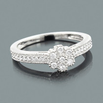 Affordable Diamond Engagement Ring 0.30ct 10K Flower Jewelry