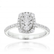 Affordable Engagement Rings Oval Halo Design Round Diamonds 14K Gold 0.9ct