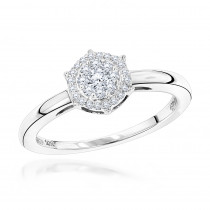 Affordable Promise Rings: Ladies Round Diamond Cluster Ring 0.2ct 10K