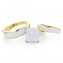 Affordable Trio Ring Sets:Diamond Wedding Ring Set 1.25ct 10K Gold