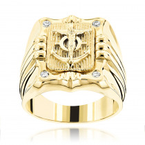 Anchor Nautical Jewelry 14K Gold Mens Diamond Ring 0.10