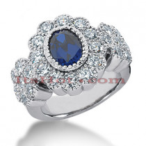 Antique Sapphire Diamond Engagement Ring 14K 1.80ctd