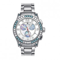 Aqua Master Watches Mens White Blue Diamond Watch 8ct