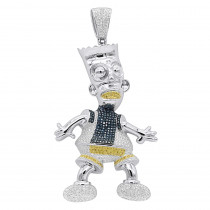Bart Simpson Diamond Pendant 0.75ct Sterling Silver