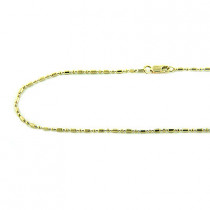Bead Bar 14K Gold Link Chain 1.5mm White Yellow Gold, 16in - 24in