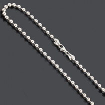 "Bead Chain Dog Tag Necklace 4mm 22"" Sterling Silver"