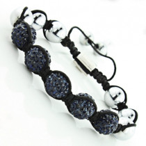 Beaded Disco Ball Bracelet with Blue Crystals and Metallic Beads