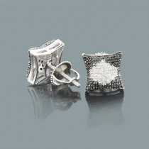 Black and White Diamond Earrings in Sterling Silver 0.39ct