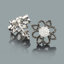 Black and White Diamond Flower Earrings 0.55ct 14K Gold