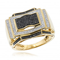 Black and White Diamond Ring for Men 0.5ct 10K Gold