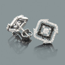 Black and White Diamond Stud Earrings 0.50ct 14K Gold