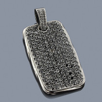 2 inch Mens Black Diamond Dog Tag Pendant 14K Gold 7.5ct