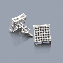 Black Diamond Earrings 0.52ct Sterling Silver Studs