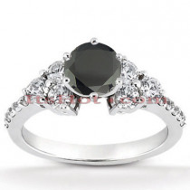 Ultra Thin Black Diamond Engagement Ring 0.85ct 14K Gold