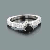Ultra Thin Black Diamond Engagement Ring 14K Gold 0.83ct