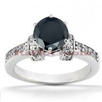 Thin Black Diamond Engagement Ring 14K Gold 0.84ct