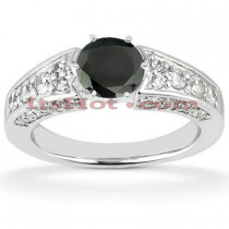 Thin Black Diamond Engagement Ring 14K Gold 1.42ct