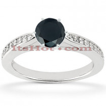 Thin Black Diamond Engagement Rings: 14K Gold Ring 0.78ct