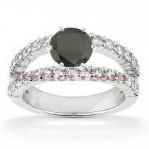 Black Diamond Engagement Rings: 14K Gold Ring 1.50ct