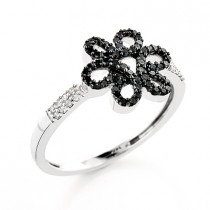 Black Diamond Flower Ring 0.30ct 14K Gold