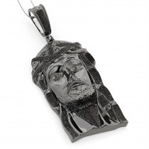 Black Diamond Jesus Face Pendant 1.75ct Sterling Silver
