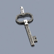 Black Diamond Key Pendant 0.38ct 14K Gold