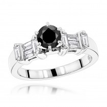 Thin Black Diamond Ring: Unique Engagement Jewelry 1.30ct 14K