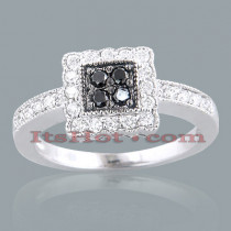 Black Diamond Rings 14K White Black Diamond Ring 0.64ct