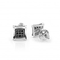 Real Black Diamond Stud Earrings Sterling Silver Square Kites 0.1ct