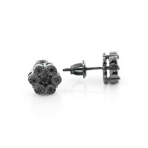 Black Diamond Stud Earrings 0.12ct Sterling Silver