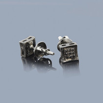 Black Diamond Stud Earrings .10ct Sterling Silver