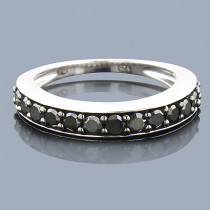 Thin Black Diamond Wedding Band 0.58ct Sterling Silver