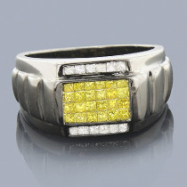 Black Gold Diamond Ring 14K 1ct White Yellow