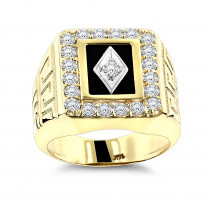 Black Onyx and Diamond Rings 14K Gold Mens Ring 1.68ct